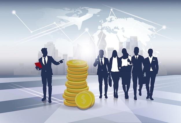 Silueta negocios gente equipo éxito finanzas dinero riqueza