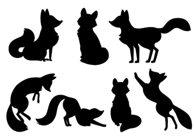 Silueta negra. conjunto de dibujos animados lindo zorro. colección divertida del zorro rojo. emoción animalito. diseño de personajes de animales de dibujos animados. ilustración plana aislada sobre fondo blanco.
