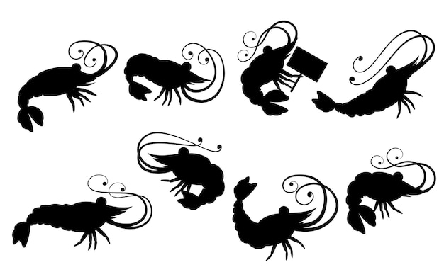 Silueta negra. lindo juego de camarones. diseño de personajes de animales de dibujos animados. colección de crustáceos nadadores. ilustración plana aislada sobre fondo blanco.
