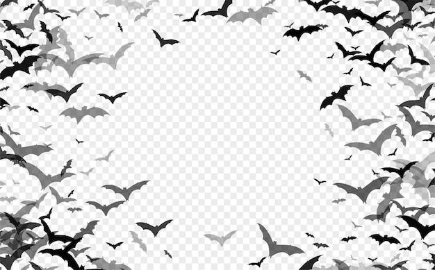Silueta negra de murciélagos aislado sobre fondo transparente
