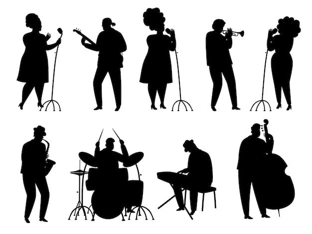 Silueta negra de músicos de jazz, cantante y baterista, pianista y saxofonista