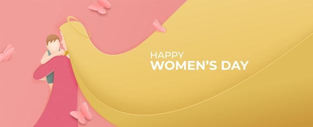 Silueta de niña bonita con ilustración de pelo largo de corte de papel. 8 de marzo, día internacional de la mujer.