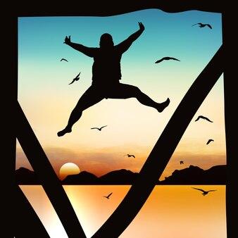 Silueta y niña saltando en el crepúsculo con cielo azul.