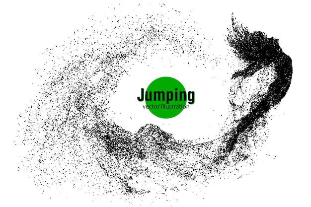 Silueta de una niña saltando de partículas