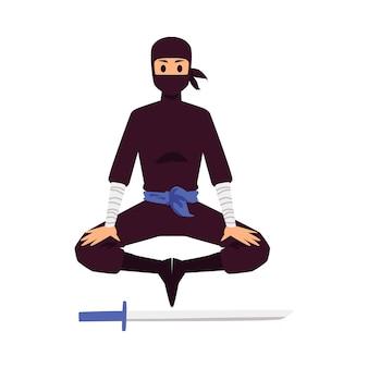 Silueta de un ninja meditando sobre un fondo blanco.