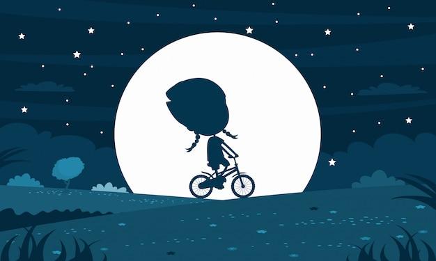 Silueta de niño en la noche lunar