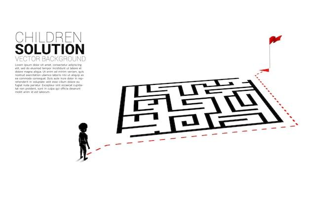 La silueta del niño con la ruta recorre el laberinto hasta la meta. banner de solución educativa y futuro de los niños.