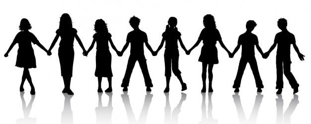 Silueta de niños asiéndose de las manos