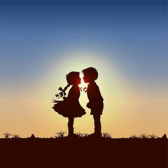Silueta, de, niños, besar