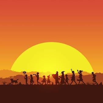 Silueta de niños jugando truco o trato en la noche de halloween, ilustración vectorial