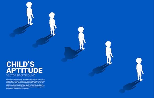 Uno de silueta de niños con su sombra de superhumano. ilustración de la aptitud y el poder de los niños en el interior.