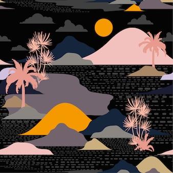 Silueta de noche oscura de la isla, vector de patrones sin fisuras