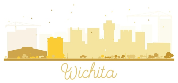 Silueta de oro del horizonte de la ciudad de wichita. ilustración vectorial. concepto plano simple para presentación turística, banner, cartel o sitio web. concepto de viajes de negocios. paisaje urbano con hitos.