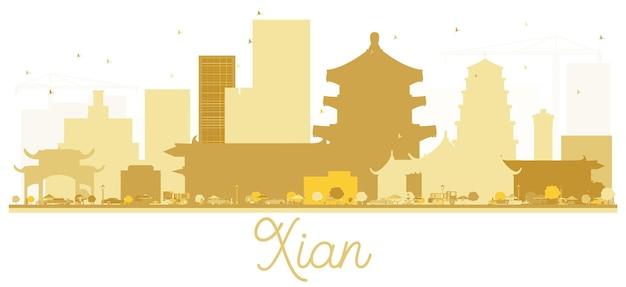 Silueta de oro del horizonte de la ciudad de xian china. ilustración vectorial. concepto plano simple para presentación turística, banner, cartel o sitio web. paisaje urbano de xian con hitos.