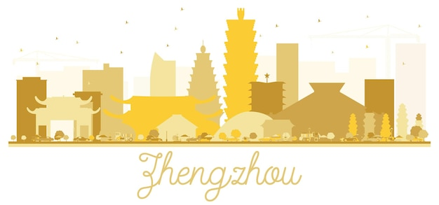 Silueta de oro del horizonte de la ciudad de zhengzhou. ilustración vectorial. concepto plano simple para presentación turística, banner, cartel o sitio web. paisaje urbano de zhengzhou con hitos.