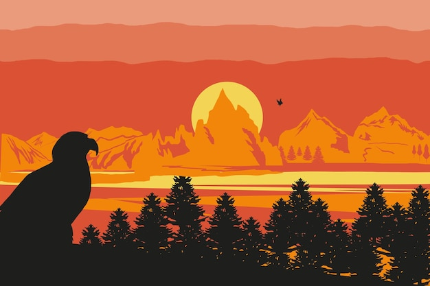 Silueta paisaje águila puesta de sol colinas