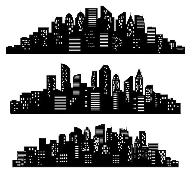 Silueta de paisaje urbano. edificios de la ciudad, pueblo de noche y conjunto de vectores de siluetas de panorama urbano horizontal. sombras negras del distrito o del centro con edificios, rascacielos. vistas panorámicas monocromáticas.