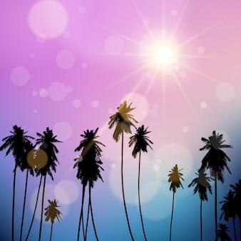 Silueta de palmeras contra un cielo del atardecer