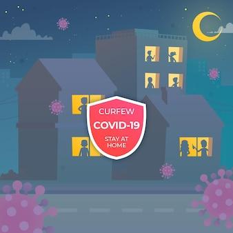 Silueta de personas en las ventanas sobre el toque de queda por coronavirus