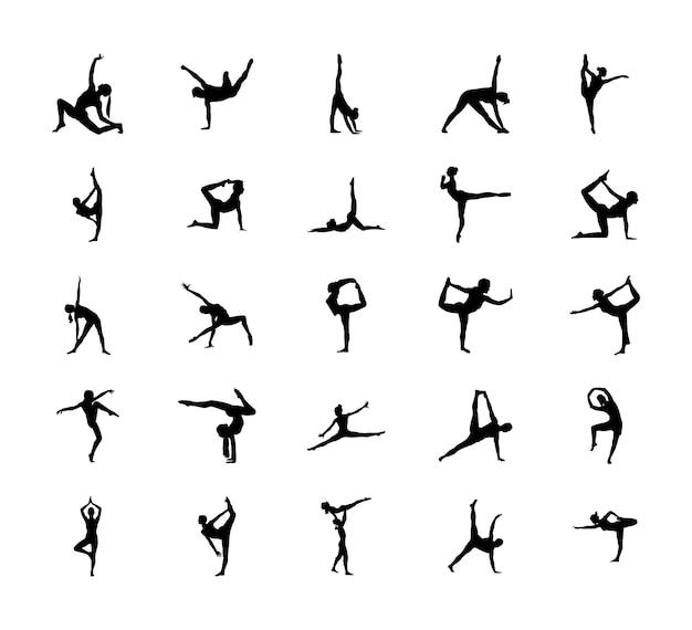 Silueta de poses de gimnasia fácil