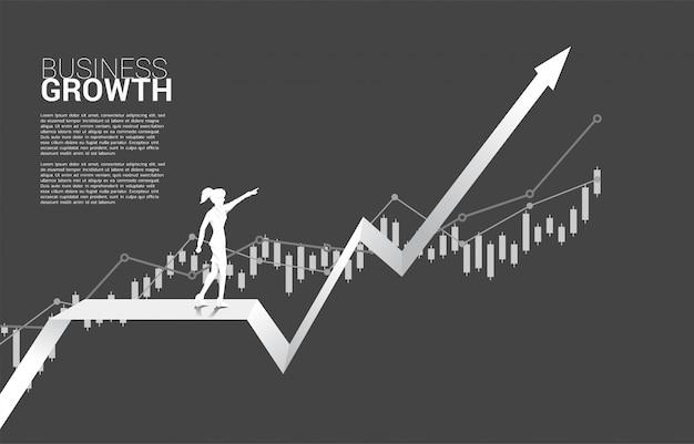 Silueta del punto de la empresaria a continuación en gráfico cada vez mayor.