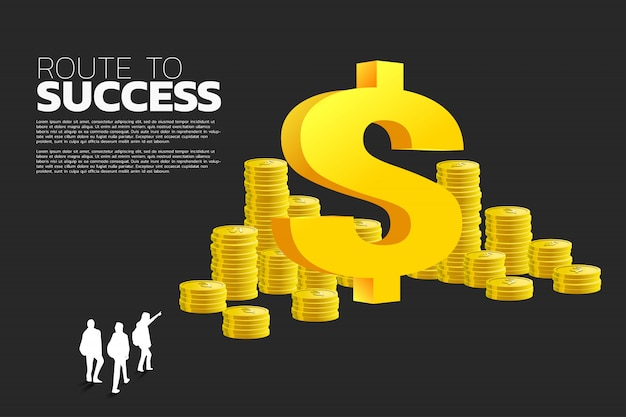Silueta del punto de grupo empresario a dólar