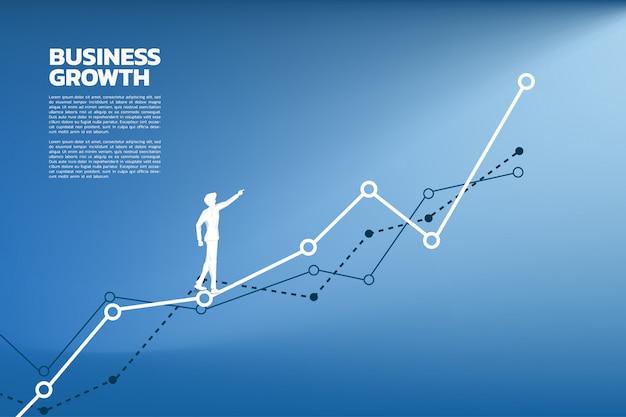 Silueta del punto del hombre de negocios al más alto del gráfico.