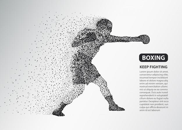 Silueta de puntos de boxeador, banner de luchador de boxeo