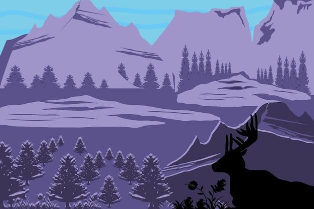 Silueta púrpura paisaje ciervos árboles