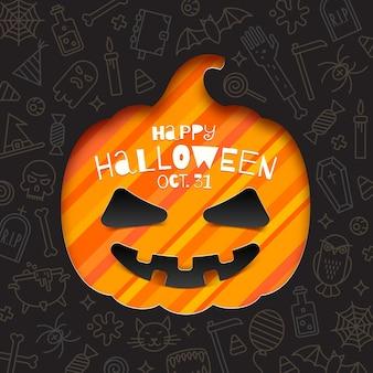 Silueta de un recorte de calabaza en papel sobre un fondo con signos y símbolos lineales de halloween