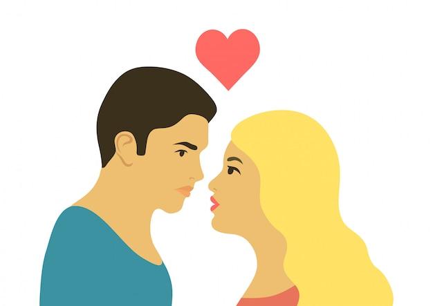 Silueta romántica de pareja amorosa mirando el uno al otro