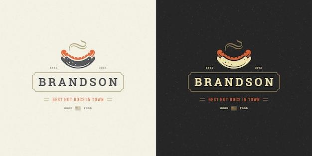 Silueta de salchicha con logo de hot dog buena para menú de restaurante y insignia de cafetería
