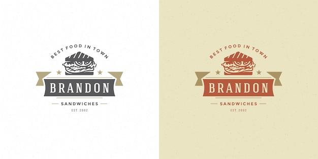 Silueta de sándwich de ilustración de vector de logotipo de comida rápida buena para menú de restaurante y insignia de cafetería