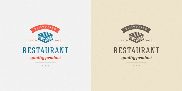 Silueta de sándwich de logotipo de comida rápida buena para el menú del restaurante y la insignia de la cafetería