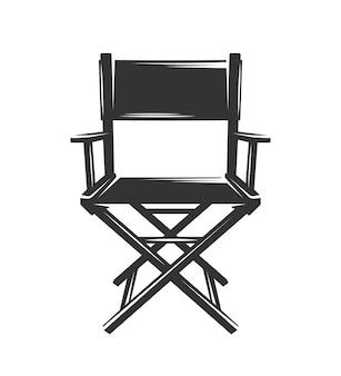 Silueta de silla de productor aislado sobre fondo blanco.