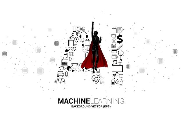 Silueta de superhéroe volando con ai desde el icono funcional. concepto de aprendizaje automático e inteligencia artificial.