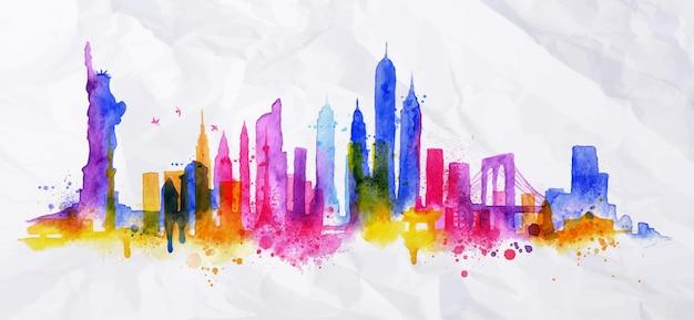 Silueta de superposición de la ciudad de nueva york