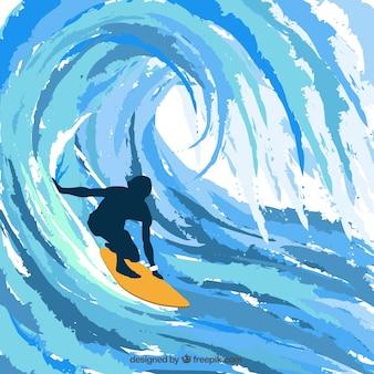 Silueta de surfero