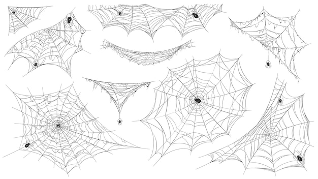 Silueta de tela de araña. telaraña colgante con arañas venenosas para decoración de halloween de terror. elemento de telaraña espeluznante, trampa de red en el conjunto de vectores de esquina. ilustración trampa silueta pegajosa, esquina de arañas