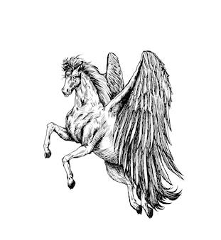 Silueta de un unicornio en el adorno, ilustración de vector de boceto de sorteo de mano.