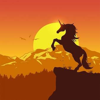 Silueta de un unicornio asustadizo al atardecer, ilustración vectorial