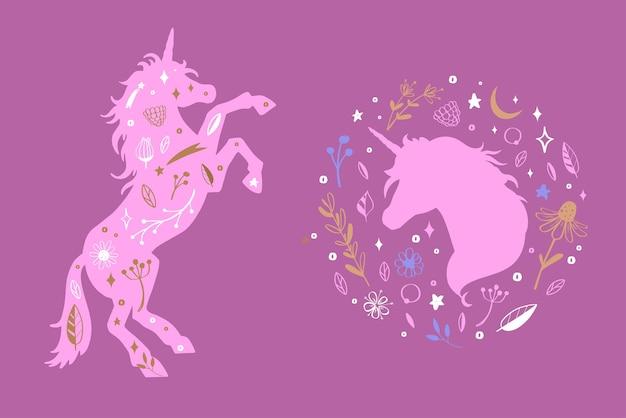 Silueta de unicornio y cabeza de unicornio en el patrón rústico de flores bosque de cuento de hadas