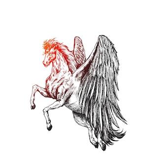 Silueta, de, un, unicornio, en, el, ornamento, mano, dibujar, bosquejo, vector, ilustración