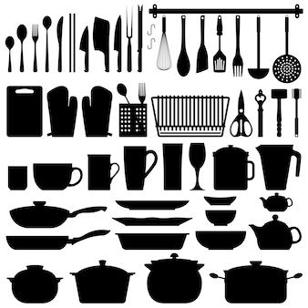 Silueta de utensilios de cocina