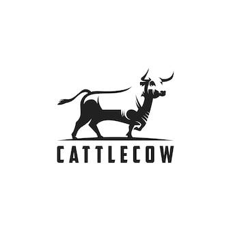 Silueta, vaca, logotipo, ilustración