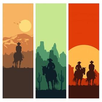 Silueta de vaquero montando caballos al atardecer, ilustración vectorial