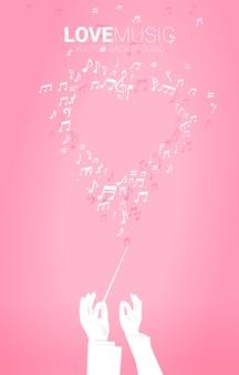 Silueta de vector de mano de conductor mantenga bastón de bastón con flujo de baile de nota de melodía musical. fondo del concepto de canción de amor y tema de concierto.