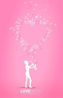 Silueta de vector de saxofonista de pie con nota musical volando como forma de corazón. fondo del concepto de canción de amor y tema de concierto.
