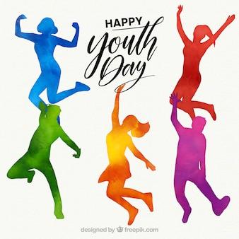 Siluetas de acuarela del día de la juventud