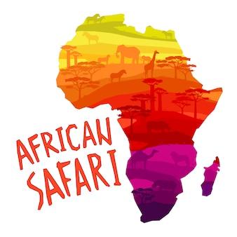 Siluetas de animales africanos en puesta de sol